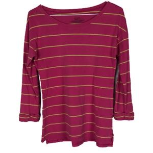 Patagonia Boat Neck T-Shirt Striped 3/4 Sleeve